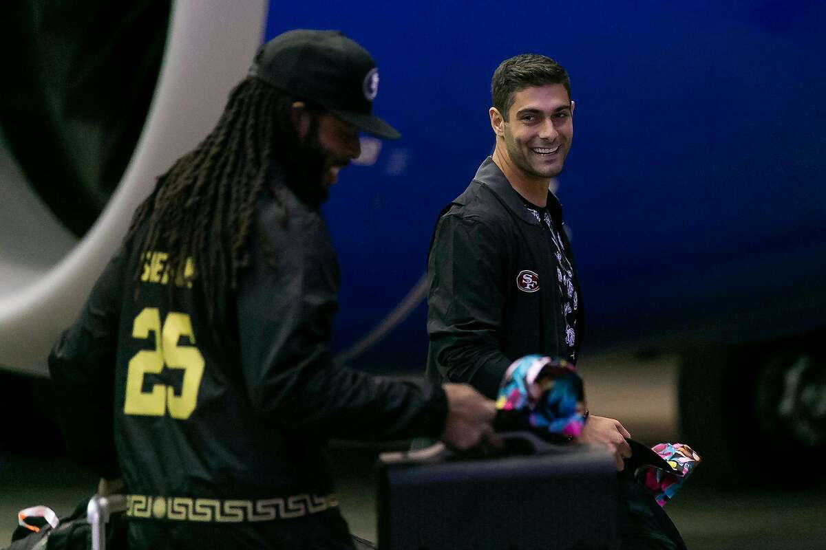 San Francisco 49ers quarterback Jimmy Garoppolo arrives at Miami International Airport in Miami, Fla. on Sunday, Jan. 26, 2020. The San Francisco 49ers will face off against the Kansas City Chiefs at Super Bowl LIV in Hard Rock Stadium next Sunday, Feb. 2, 2020. (Matias J. Ocner/Miami Herald/TNS)