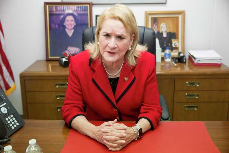 Rep. Sylvia Garcia talks about her role as one of seven representatives making the case to the Senate that President Donald Trump should be removed from office Friday, Jan. 17, 2020, at her office in Houston.
