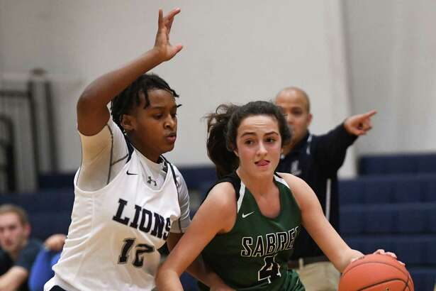 Schalmont's Payton Graber drives to the basket against Mekeel Christian Academy's Mikyla Mitchell during a game on Wednesday, Jan. 15, 2020 in Scotia, N.Y. (Lori Van Buren/Times Union)