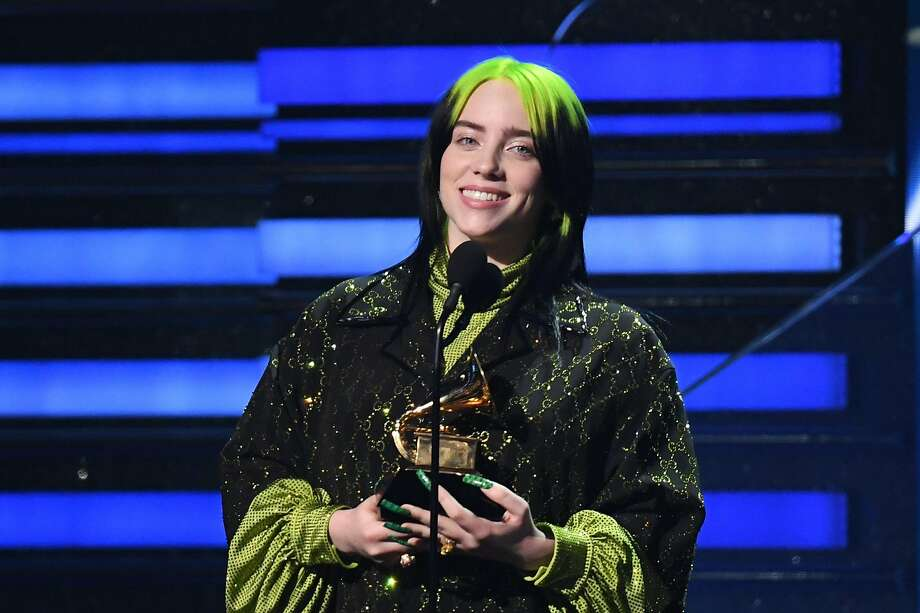 "US singer-songwriter Billie Eilish accepts the award for Song Of The Year for ""Bad Guy"" during the 62nd Annual Grammy Awards on January 26, 2020, in Los Angeles. (Photo by Robyn Beck / AFP) (Photo by ROBYN BECK/AFP via Getty Images) Photo: Robyn Beck, AFP Via Getty Images"
