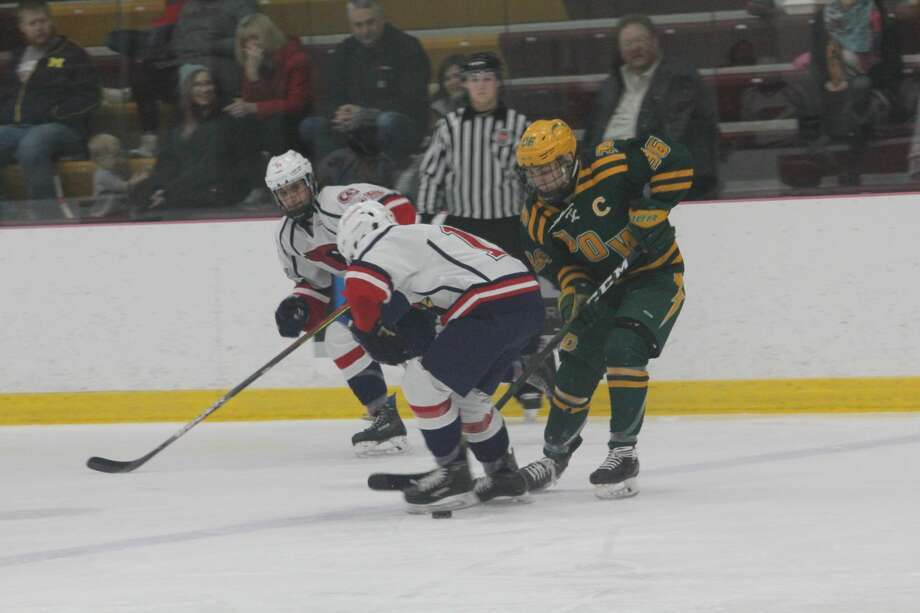 Midland Dow was too much for Big Rapids' h0ckey team in a 5-1 win on Saturday at the Ewigleben Ice Arena Photo: John Raffel