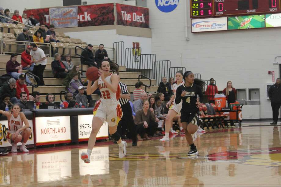 Ferris State's women's basketball team survived Purdue Northwest 77-70 in overtime on Saturday. Photo: John Raffel