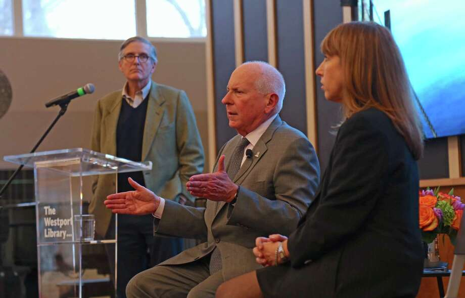 Moderator Jeffrey Weiser listens to comments from First Selectman Jim Marpe and Board of Education Chair Candice Savin at the State of the Town talk at the Westport Library on Sunday, Jan. 26, 2020, in Westport, Conn. Photo: Jarret Liotta / For Hearst Connecticut Media / Jarret Liotta / ©Jarret Liotta 2020