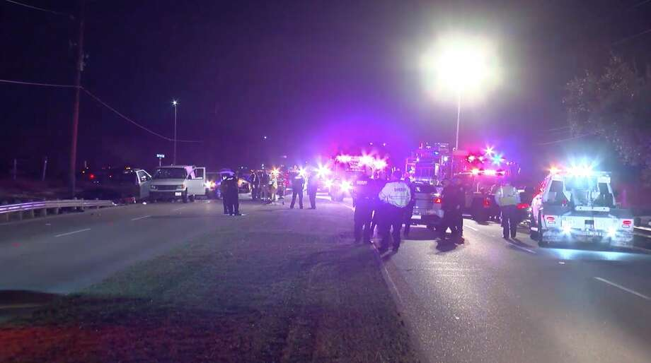 Authorities investigate a violent crash in the 5100 block of Barker Cypress Road on Monday, Jan. 27, 2020. Photo: OnScene.TV
