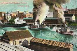 A series of tugs used to help guide steamers into the Manistee harbor in the 1890s.