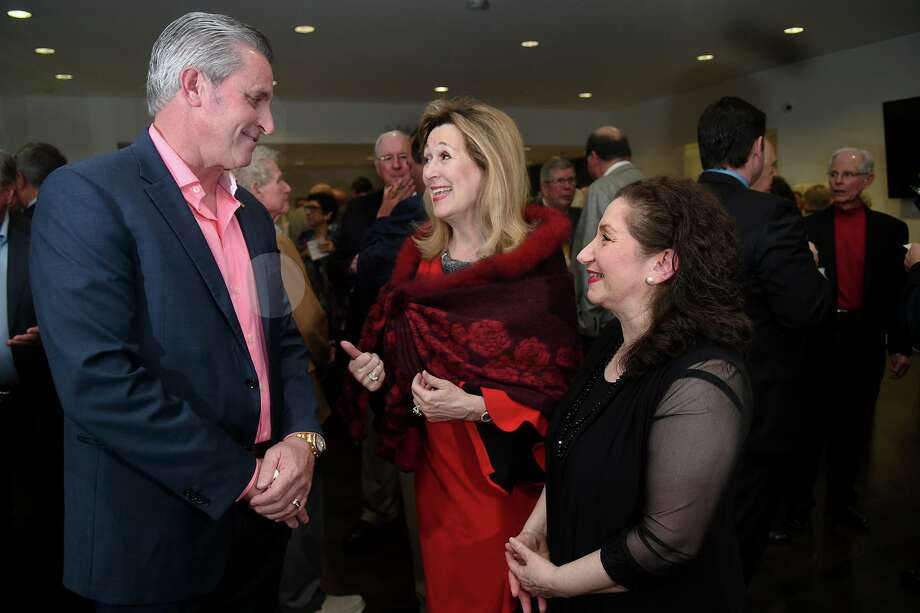 State Rpresentative Sam Harless, from left, visits with Pearl Fincher Museum board member Barbara Schlattman, and Museum Director Ani Boyajian during the Pearl Fincher Sports Night at the museum on Jan. 25, 2020. Photo: Jerry Baker, Houston Chronicle / Contributor / Houston Chronicle