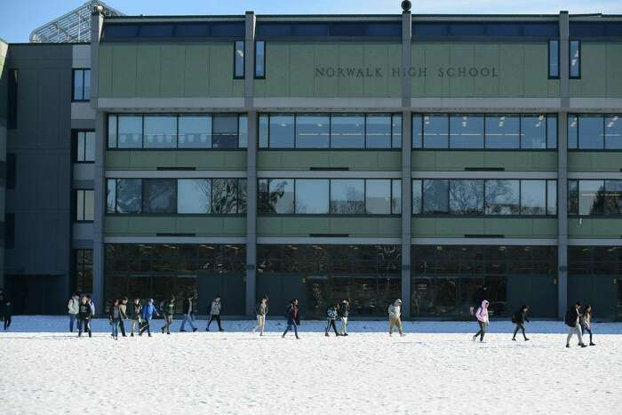 Students leave Norwalk High School Friday, January 24, 2020, in Norwalk, Conn.The city has proposed building a brand new high school in a deal where 80% of the cost will be covered by the state.