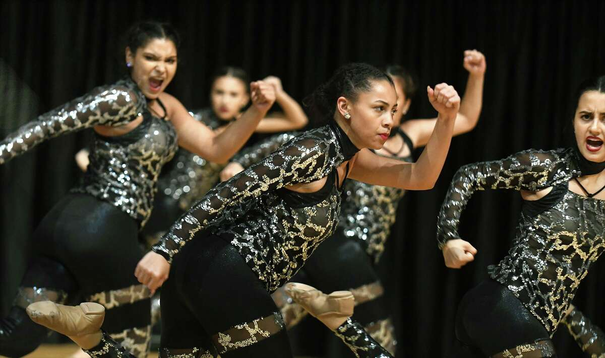 Colonel Jayden Gaudin, center,and the Cy Ridge Dazzlers perform their Team Jazz routine during the 2020 CFISD Dance Showoffs at the Berry Centerin Cypress on Jan. 23, 2020.