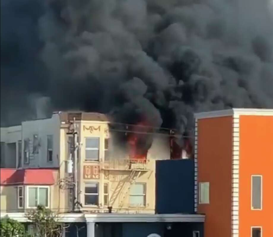 A still grab from a video of a two alarm fire in the Sunset District. Six people were displaced and there was one minor injury. Photo: San Francisco Firefighters 798