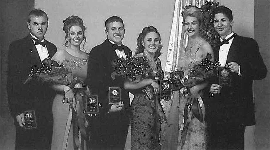 These were the winners of Deer Park High School's Majestic Court pageant from 1999 --James Perrin, left, Melissa Dickerson, Aaron Chapa, Analisa Kolb, Ashlee O'Banion and Marcos Esparza. The annual event is marking its 66th year on Feb. 6. Winners are chosen based on teacher recommendations, interviews and stage presentation. Six seniors will be chosen for the court -- three boys and three girls -- plus winners for female and male spirit awards. Photo: Courtesy Deer Park High School