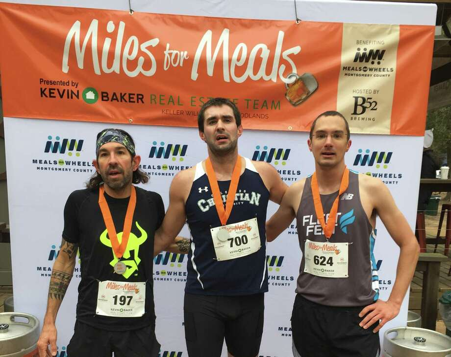 Andrew Raggio, Mark Amann and Patrick Willis were the top three men's finishers in the 2019 Miles for Meals run/walk to benefit Meals on Wheels in Montgomery County. This year's event is set for Feb. 8. Photo: Courtesy Photo