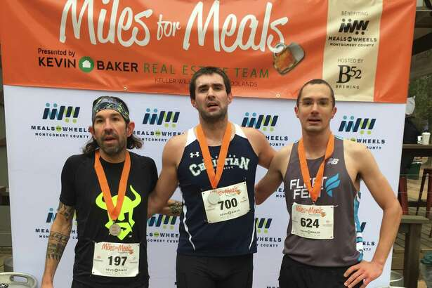 Andrew Raggio, Mark Amann and Patrick Willis were the top three men's finishers in the 2019 Miles for Meals run/walk to benefit Meals on Wheels in Montgomery County. This year's event is set for Feb. 8.
