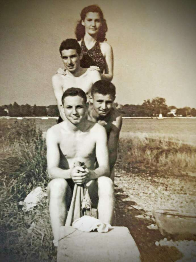 The Lepofsky boys (Sam, George, Max) and a friend at Shorefront Park, South Norwalk, in the 1930s. Photo: Contributed Photo