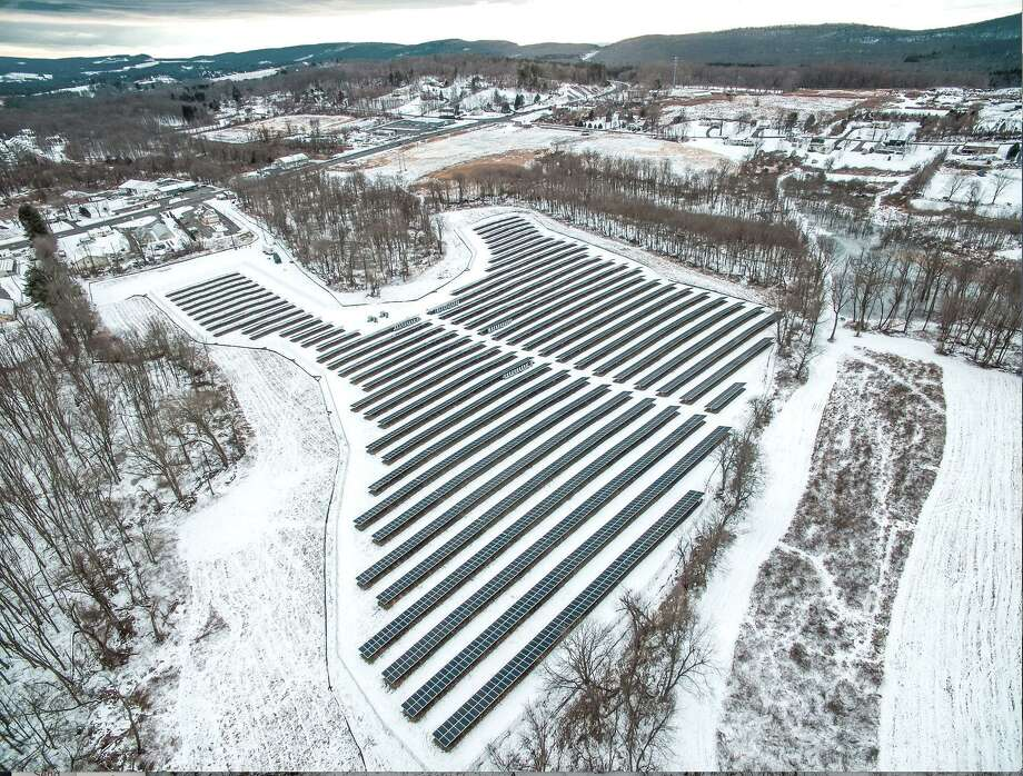 An aerial shot of the joint solar field in Middletown, shared by Wilton and Weston that went live at the end of December. Photo: Contributed Photo / / Wilton Bulletin Contributed