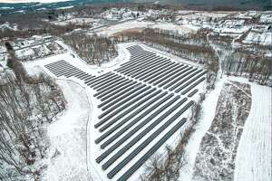 An aerial shot of the joint solar field in Middletown, shared by Wilton and Weston. The field went live at the end of December 2019. The new proposed field would be squarely in Wilton, utilizing a landfill.