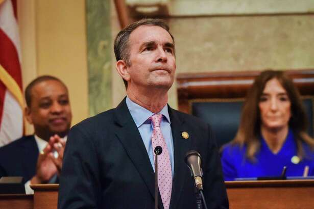 RICHMOND, VA - January 08: Gov. Ralph Northam addresses a joint session of the Virginia General Assembly in Richmond on Jan. 8, 2020.