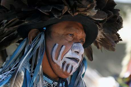 Calvin Osise a Members of Tap Pilam Coahuiltecan Nation was to provide several cultural performances inside the Bud Light courtyard on Sunday, January 19, 2020 at At&T Center.