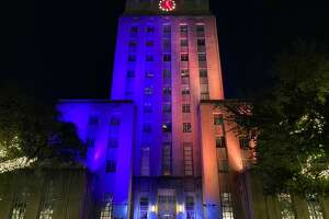 Here in Houston, several buildings and other other structures were bathed in purple lights, honoring Kobe Bryant's team colors. Pictured: Houston City Hall