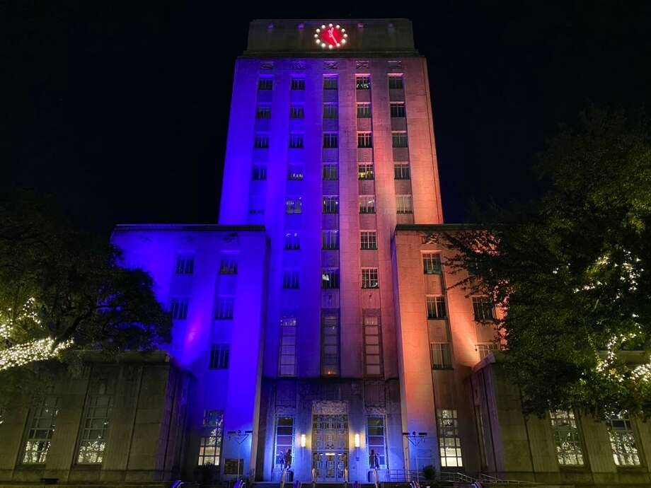 Here in Houston, several buildings and other structures were bathed in purple and gold lights, honoring Kobe Bryant's team colors. Pictured: Houston City Hall Photo: Sergio Chapa