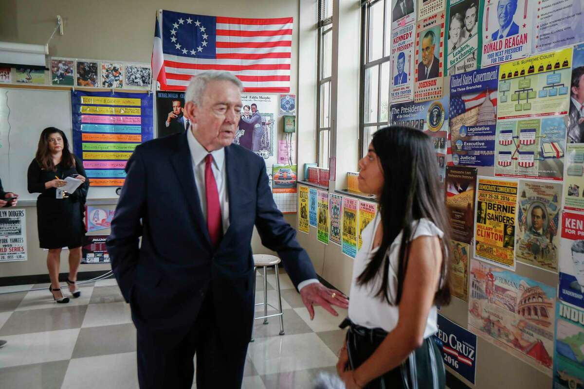 Broadcast journalist Dan Rather thanked Heights High School valedictorian Emily Ramirez after she interviewed him Tuesday, Oct. 29, 2019, in Houston.