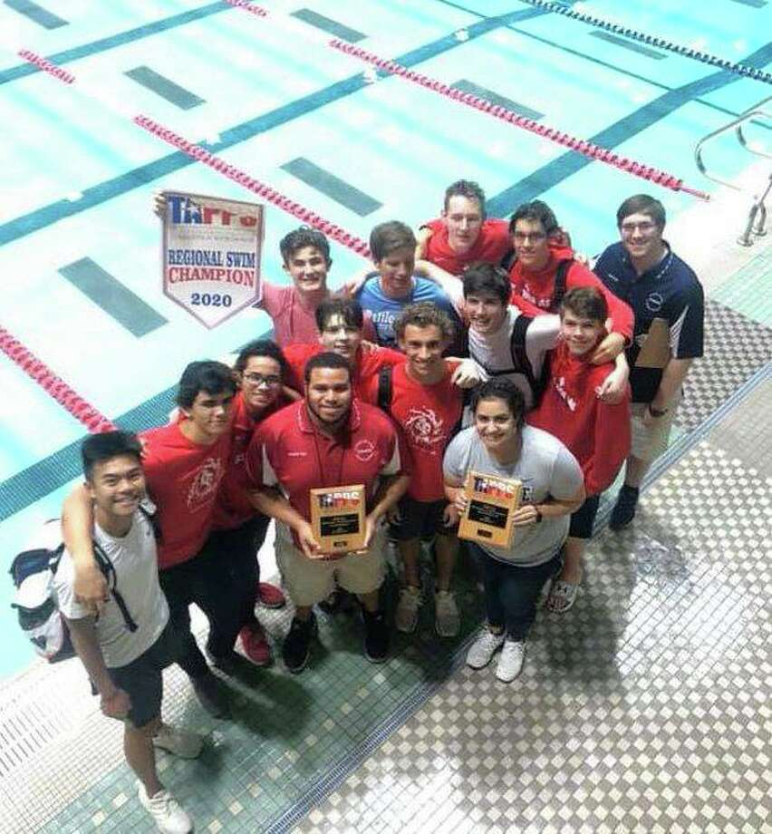 The St. Thomas swimming team won the Houston Regional boys championship for TAPPS Division I. The Eagles look to defend their state title Feb. 7. Photo: St. Thomas High School / St. Thomas High School