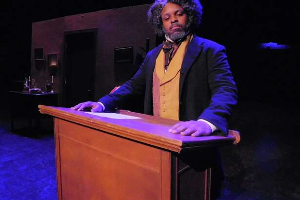 "Tenisi Davis appears as Frederick Douglass in ""Frederick Douglass: An American Slave,"" onstage at The Klein in Bridgeport, Feb. 6."