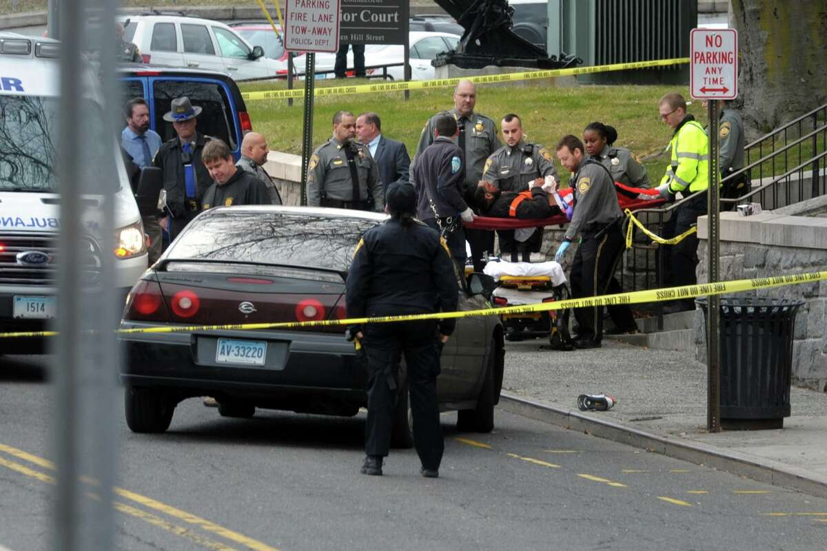 The scene outside the Golden Hill Street courthouse in Bridgeport shortly after four people were shot on Monday.