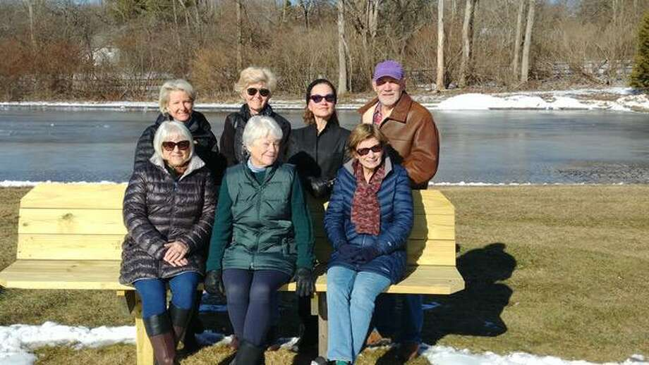 Litchfield Garden Club members include, standing, from left,president Annie Borzilleri, vice president Susan Magary project co-chairpersons Dale Ryan and Frank Fontana; seated, from left, are Lynne Sherman, Sara Gault andAnna Heys. Photo: Litchfield Garden Club / Contributed Photo