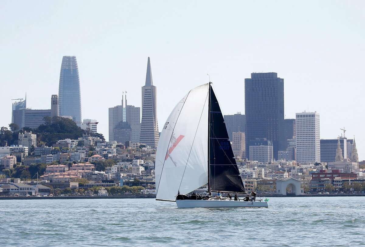 The Velvet Hammer sails past the downtown skyline while waiting for the Rolex Big Boat Series yacht races to commence in San Francisco, Calif. on Thursday, Sept. 12, 2019. The races continue near the St. Francis Yacht Club through Sunday.