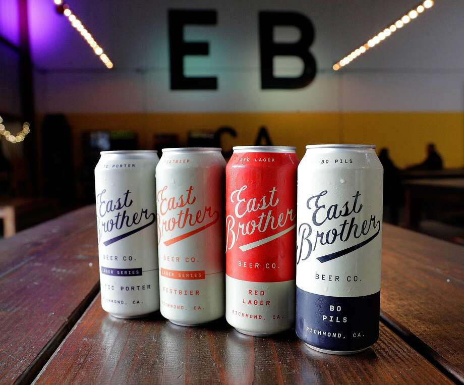 East Brother Beer Co. in Richmond specializes in lager. From left, Baltic Porter, Festbier, Red Lager and Bo Pils. Photo: Carlos Avila Gonzalez / The Chronicle