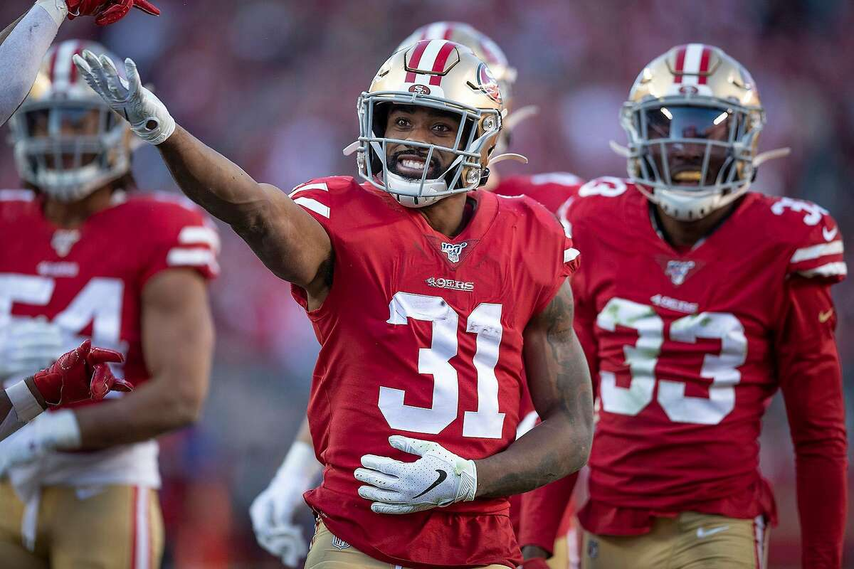 In this file photo, San Francisco 49ers running back Raheem Mostert (31) celebrates after he recovered a fumble on by the Minnesota Vikings' Marcus Sherels on a punt return in the third quarter of the NFC Divisional Round Playoffs at Levi's Stadium in Santa Clara, CA, on Jan. 11, 2020. Mostert and his San Francisco teammates plays Kansas City in Miami on Sunday, Jan. 26, 2020. (Elizabeth Flores/Minneapolis Star Tribune/TNS)