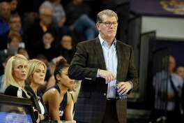Connecticut head coach Geno Auriemma watches from the sidelines against East Carolina during the first half of an NCAA college basketball game, Saturday, Jan. 25, 2020 in Greenville, N.C.