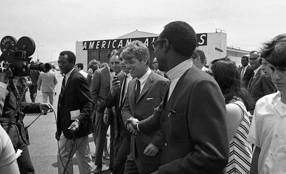 Robert F. Kennedy arrives at San Francisco International Airport then visits Chinatown on his way to Fisherman's Wharf on a campaign stop June 3, 1968 presprimaries