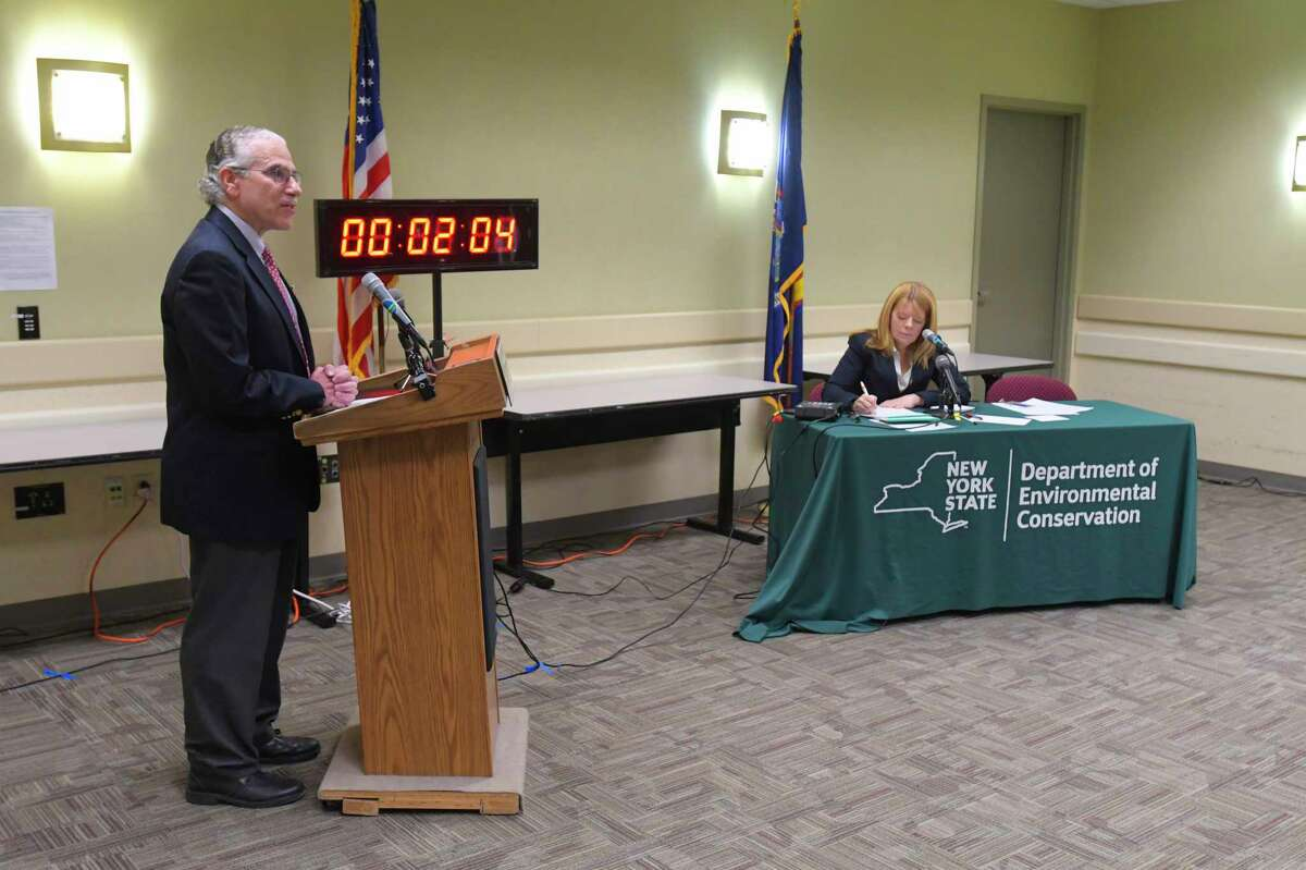 Eric Goldstein, New York City Environment Director and Senior Attorney for Natural Resources Defense Council, speaks at a public comment hearing on the new plastic bag law at the New York State Department of Environmental Conservation headquarters on Monday, Jan. 27, 2020, in Albany, N.Y. Goldstein said that the NRDC feels that the start date of the new law should be delayed by a few months so that the public and businesses can be better educated on the new law. (Paul Buckowski/Times Union)