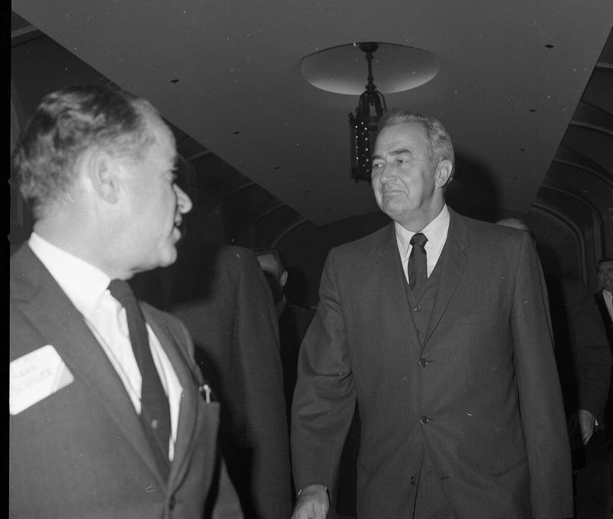 Eugene McCarthy , during a campaign stop in his bid to be the Democratic nominee for president, 1968