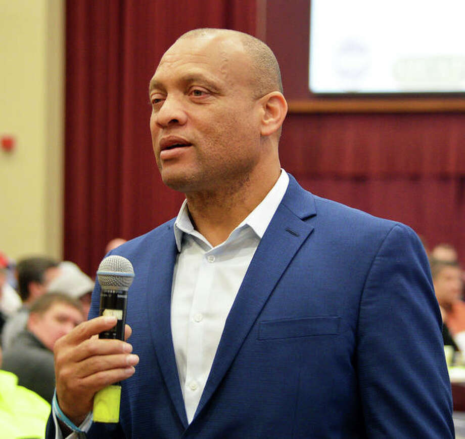 Aeneas Williams, an NFL Hall of Fame defensive back who played four years for the St. Louis Rams, was the keynote speaker on Monday for the third annual SIOSH/SafetyCon Day at the Meridian Ballroom in the Morris University Center at SIUE. It was the largest safety conference to ever take place on the Illinois side of the river. Photo: Scott Marion/The Intelligencer