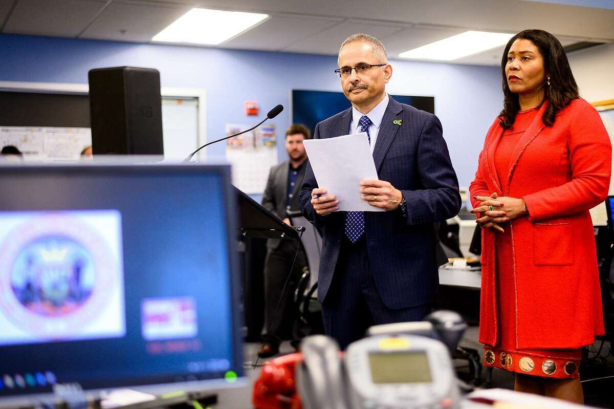 Dr. Tom�s Arag�n, health officer for the City & County of San Francisco, and San Francisco Mayor London Breed discuss San Francisco's response to the coronavirus during a press conference on Monday, Jan. 27, 2020, in San Francisco.