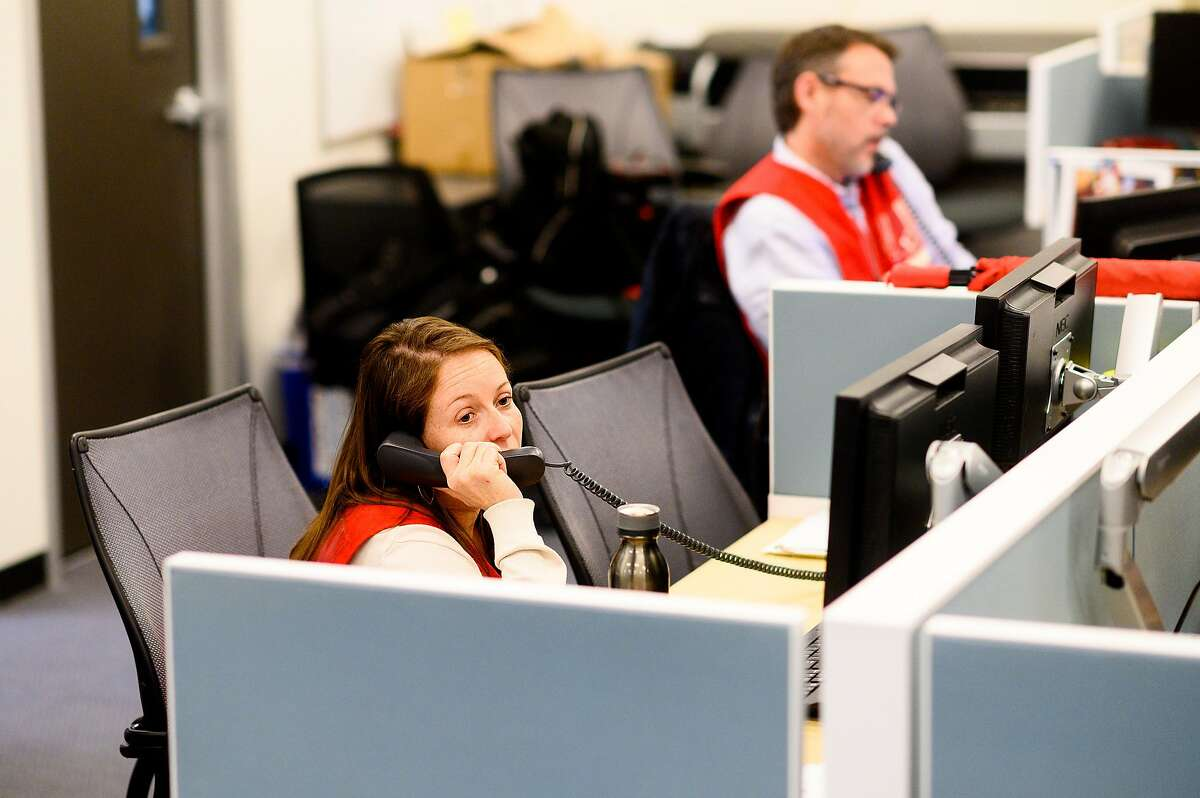 Emergency response manager Elizabeth Bessman works at the San Francisco Department of Emergency Management's Emergency Operations Center on Monday, Jan. 27, 2020, in San Francisco. Officials activated the center to monitor and respond to coronavirus threats.