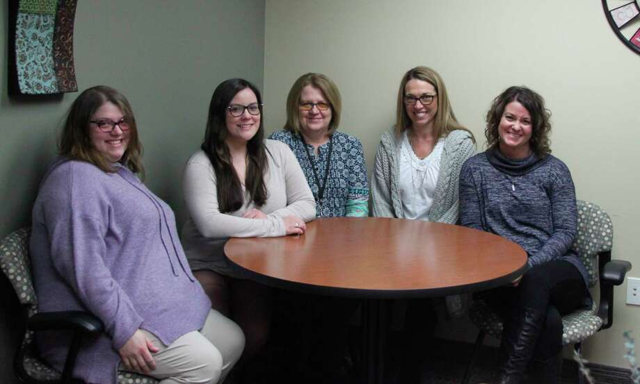 Those who work in the Manistee County School Business Cooperative office include (left to right)Danielle Kurtz (payroll and accounts payable), Emma Pendrick (payroll, human resources coordinator),Lorraine Lynch (payroll and accounts receivable), Leslie Acton (grant coordinator/lead payroll andKris Mauntler (director of finance) Missing from the photo is Devin Wegner. They provide business services to the Bear Lake, Kaleva Norman Dickson, Manistee Intermediate School District, Onekama Consolidated and CASMAN Academy schools (Ken Grabowski/News Advocate)