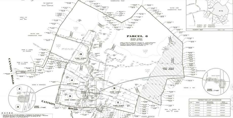 An application filed with the Wilton Planning Department shows a five-home subdivision with a sixth lot not intended for immediate development. The map was submitted by Ryan & Faulds Land Surveryors in December 2019. Photo: Contributed Photo / Wilton Bulletin Contributed