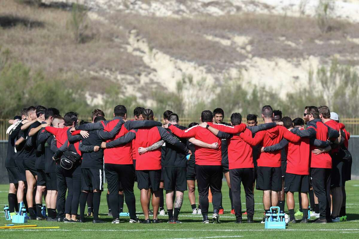 San Antonio FC players huddle after holding its first practice of the season at the STAR Complex, Monday, Jan. 27, 2020.