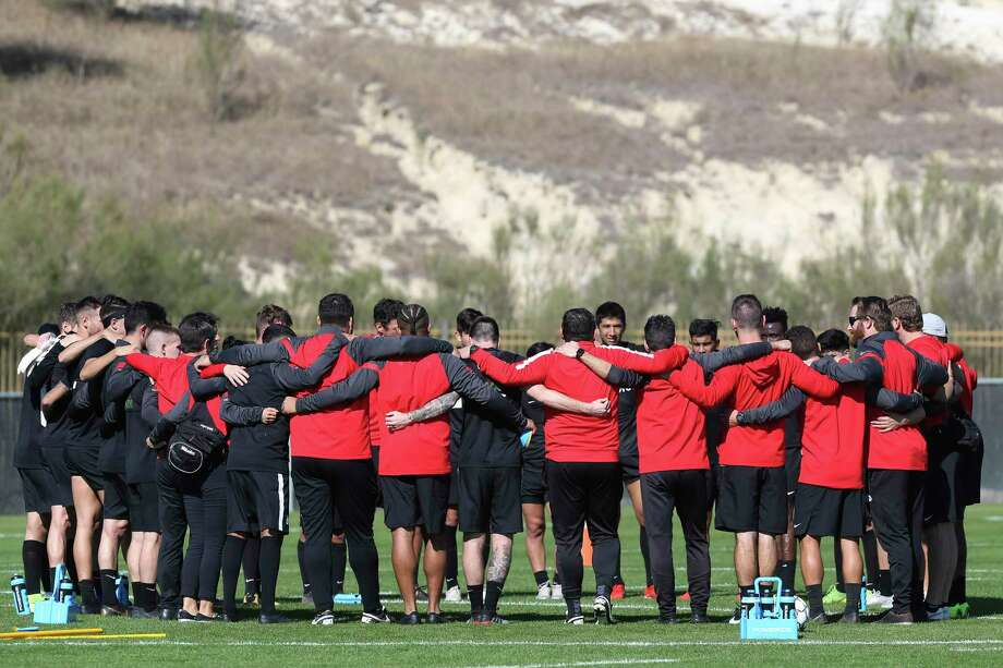 San Antonio FC players huddle after holding its first practice of the season at the STAR Complex, Monday, Jan. 27, 2020. Photo: Jerry Lara, Staff / San Antonio Express-News / **MANDATORY CREDIT FOR PHOTOG AND SAN ANTONIO EXPRESS-NEWS/NO SALES/MAGS OUT/TV   © 2019 San Antonio Express-News