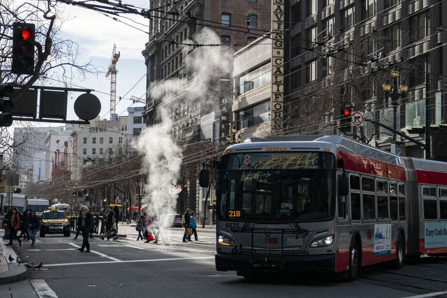 Traffic on Market Street in downtown San Francisco on Monday, Jan. 27, 2020. Photo: Chris Preovolos