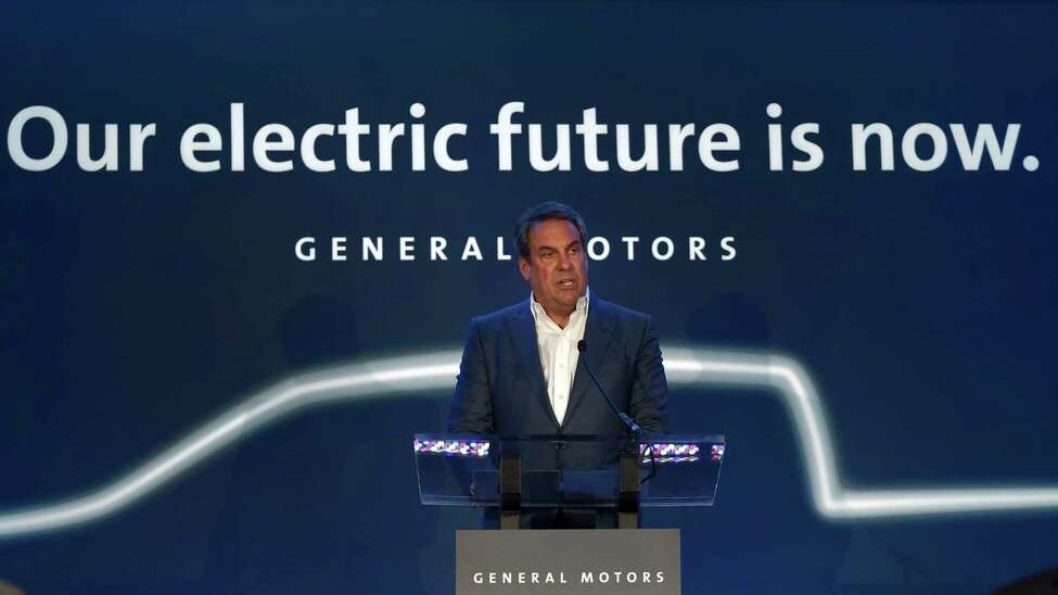 Mark Reuss, President, General Motors speaks at the GM Detroit-Hamtramck Assembly plant in Hamtramck, Mich., Monday, Jan. 27, 2020. General Motors is spending $2.2 billion to refurbish the underused factory so it can build a series of electric and self-driving vehicle. (AP Photo/Paul Sancya)
