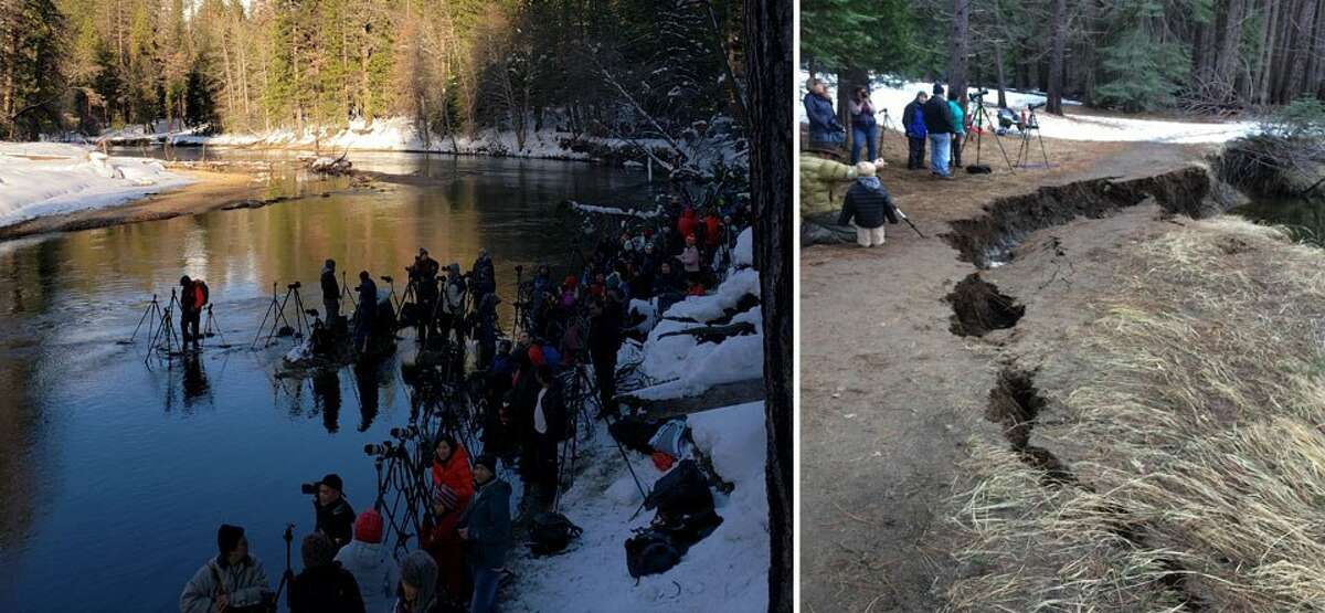 At left, photographers wade into the Merced River in order to a get a good position from which to shoot the Horsetail Fall firefall in Yosemite National Park. The photo at right shows a section of riverbank collapsed under stress from firefall spectators in February 2017. This year, the park is banning all pedestrians from the area.