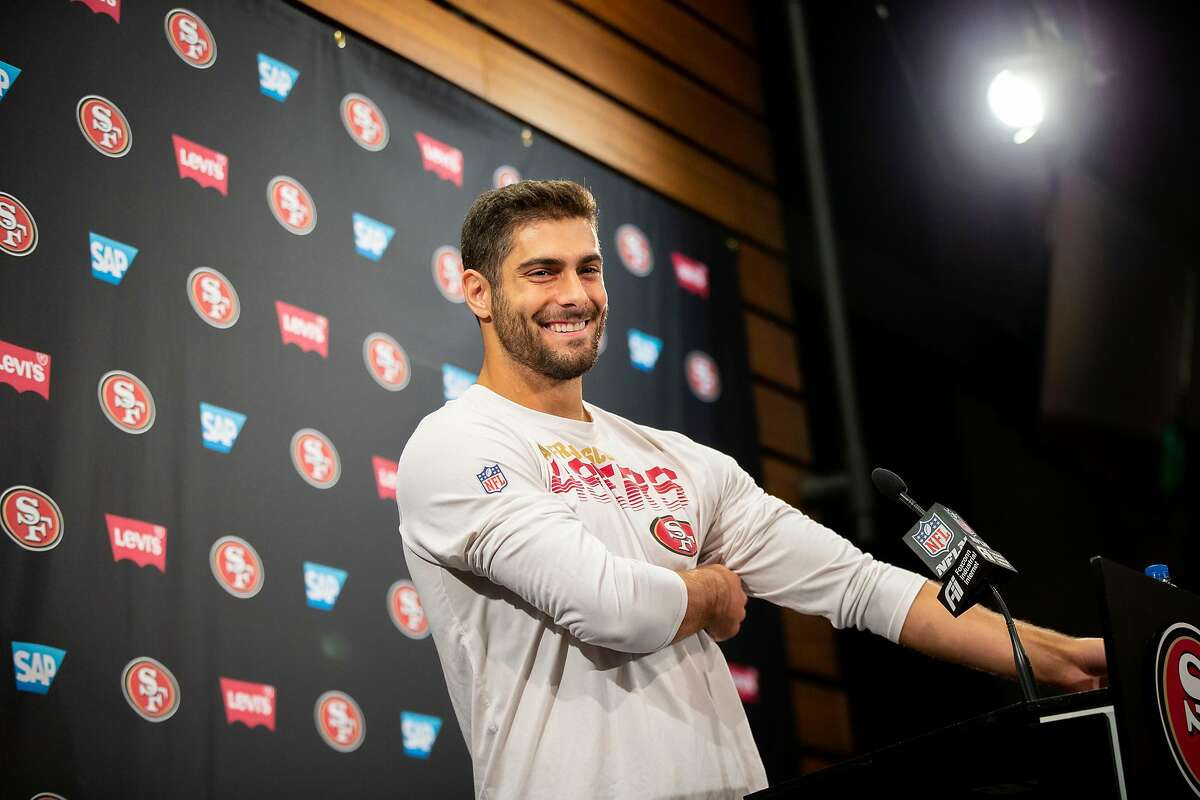 San Francisco 49ers quarterback Jimmy Garoppolo during a news conference at Levi's Stadium, Thursday, Jan. 23, 2020, in Santa Clara, Calif.