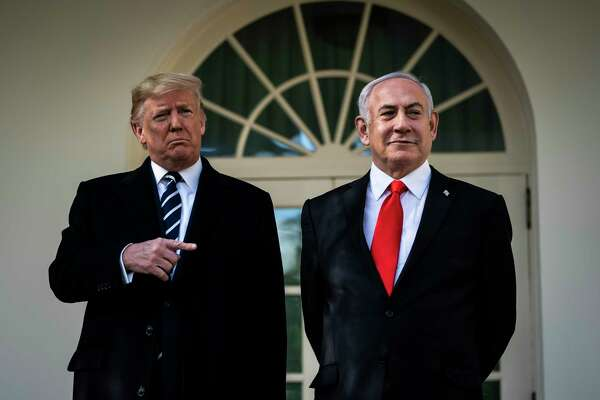 President Donald Trump talks with Israeli Prime Minister Benjamin Netanyahu at the White House on Monday, Jan 27, 2020.