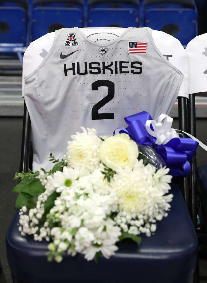 STORRS, CONNECTICUT - JANUARY 27: A jersey to honor Gianna Bryant sits on the UConn bench before the USA Women's National Team Winter Tour 2020 game between the United States and the UConn Huskies at The XL Center on January 27, 2020 in Hartford, Connecticut. Bryant and her father, former NBA player Kobe Bryant, were killed in a helicopter crash on January 26.  (Photo by Maddie Meyer/Getty Images) Photo: Maddie Meyer, Getty Images