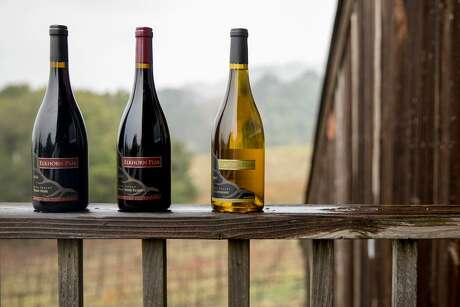 (From left) Elkhorn Peak Cellars's Pinot Noir, Pinot Noir Reserve and Chardonnay are photographed on the property in Napa, Calif. Wednesday, Dec. 11, 2019.