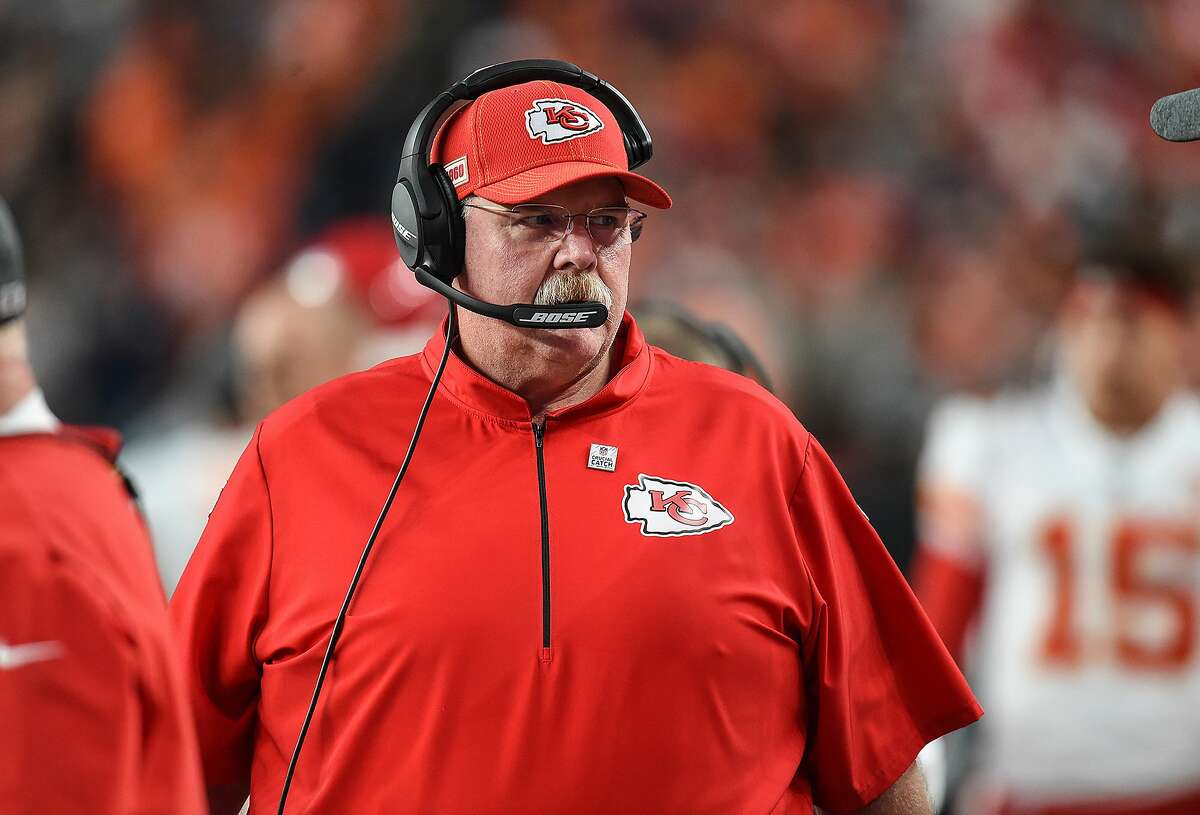 Kansas City Chiefs head coach Andy Reid on the sidelines against the Denver Broncos on October 17, 2019, at Empower Field at Mile High in Denver. (Tammy Ljungblad/Kansas City Star/TNS)